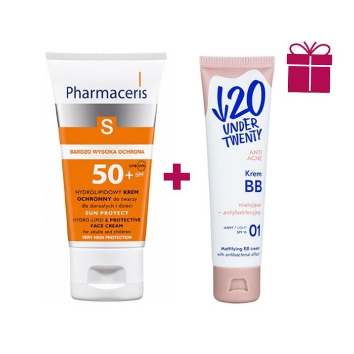 پکیج ضد آفتاب هیدرولیپید Pharmaceris + کرم ب ب چندکاره Under Twenty
