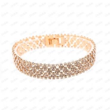 دستبند پهن نگین دار طلایی Xuping 1437