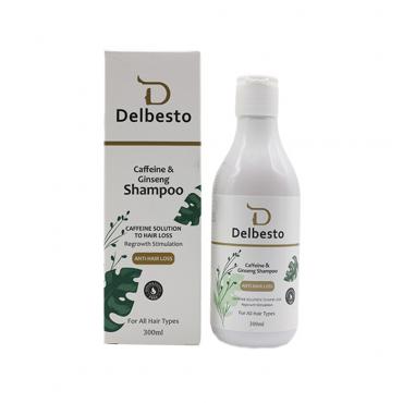 شامپو ضد ریزش مو کافئین و جینسینگ Delbesto 300ml