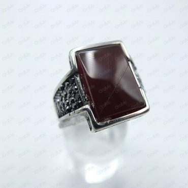 انگشتر مارکازیت سفید نگین قرمز Tandis 0517