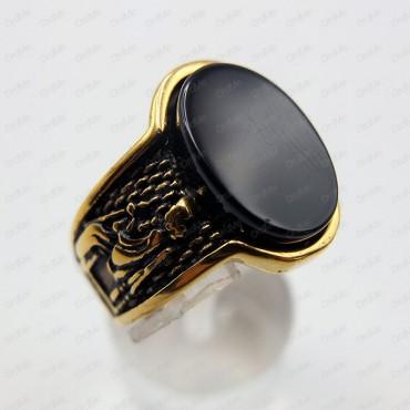 انگشتر نگین مشکی طلایی Tandis 0491