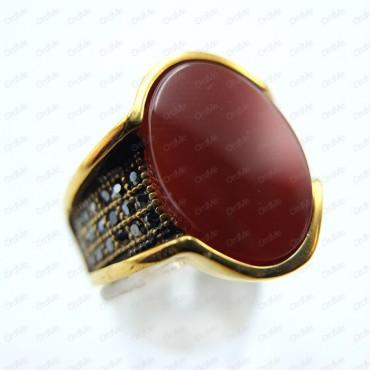 انگشتر نگین قرمز طلایی Tandis 0643