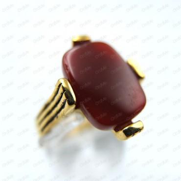انگشتر نگین قرمز طلایی Tandis 0852