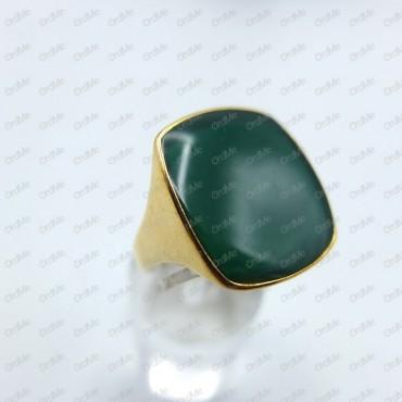 انگشتر مربعی نگین سبز طلایی Tandis 2087