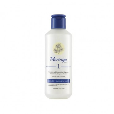 شامپو مغذی و انرژی بخش مناسب پوست سر چرب و موی خشک Moringa Emo 200ml