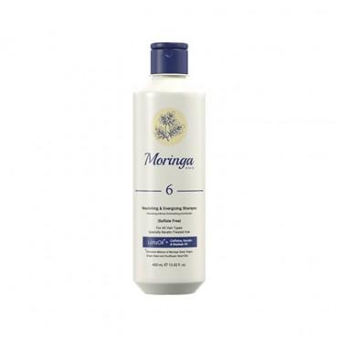 شامپو مغذی و انرژی بخش بدون سولفات مناسب موهای کراتینه Moringa Emo 400ml
