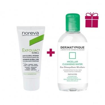 پکیج کرم ضدجوش گلوبال 6 Noreva Exfoliac + محلول پاک کننده آرایش DERMATYPIQUE