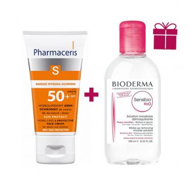 پکیج ضد آفتاب هیدرولیپید Pharmaceris + محلول پاک کننده Bioderma
